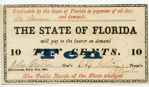 Florida-Tallahassee, The State of Florida 50 Cents, February 2, 1863