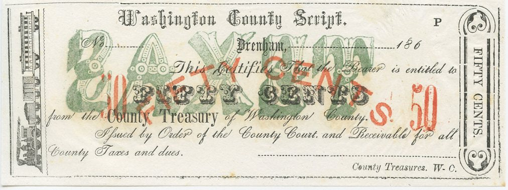Texas-Brenham, Washington County Script 50 Cents Remainder, 186_