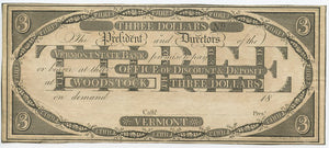Vermont-Woodstock, Vermont State Bank $3, 18_