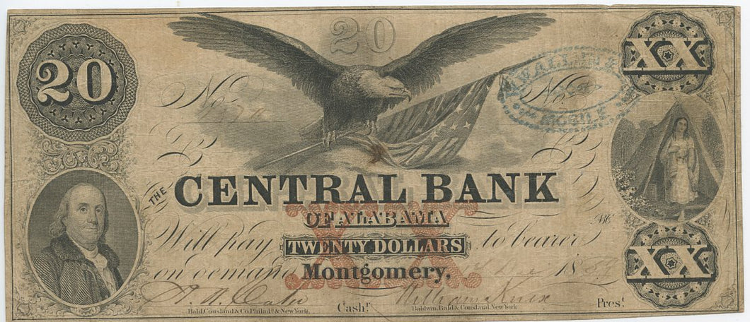 Alabama-Montgomery, The Central Bank of Alabama $20, Dec. 1, 1859