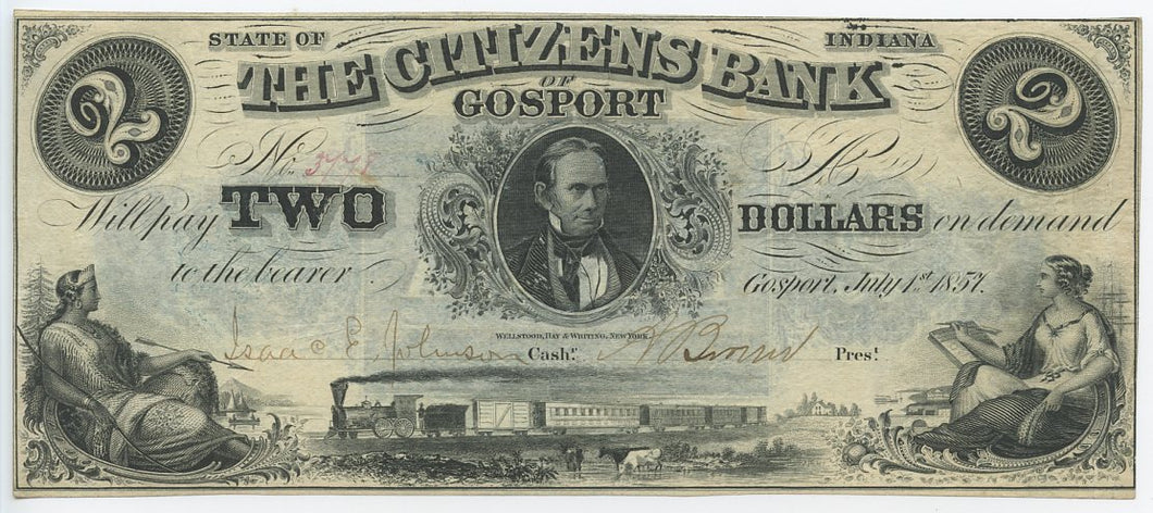Indiana-Gosport, The Citizens Bank $2, July 1, 1857