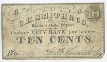 Connecticut-Hartford, C.H. Smith & Co., City Bank, 10 Cents, October 1, 1862