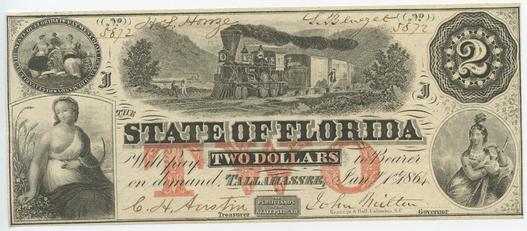 Florida-Tallahassee, The State of Florida $2, January 1, 1864