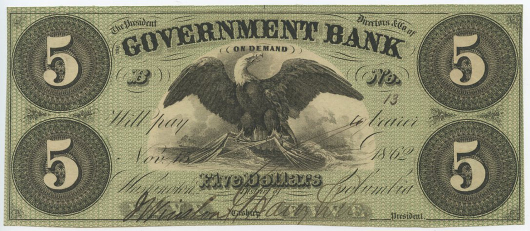 Washington D.C., The Government Bank $5, November 15, 1862