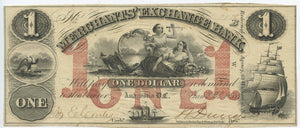 Washington, D.C.-Anacostia, Merchants' Exchange Bank $1, January 2, 1854