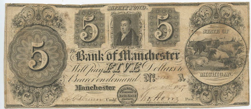 Michigan-Manchester, The Bank of Manchester $5, November 20, 1837