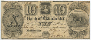 Michigan-Manchester, The Bank of Manchester $10, November 20, 1837