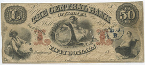 Alabama-Montgomery, The Central Bank of Alabama $50, Jan. 1, 1857