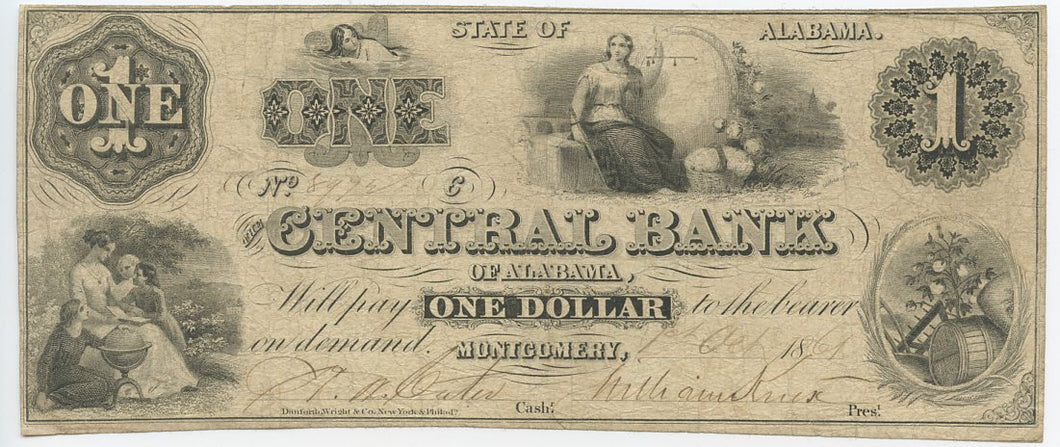 Alabama-Montgomery, The Central Bank of Alabama $1, Oct. 1, 1861