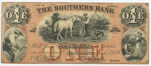 Indiana-New Albany, The Southern Bank of New Albany Indiana $1, March 1, 1859