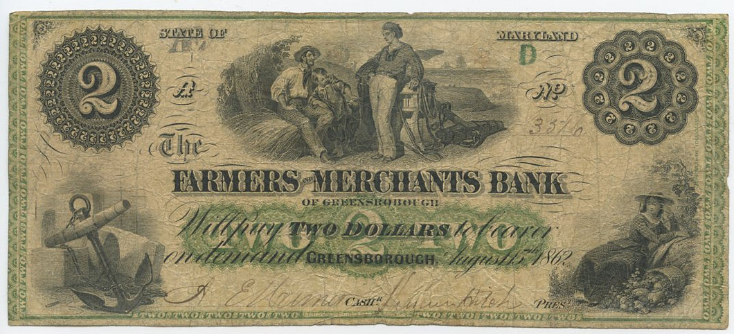 Maryland-Greensborough, The Farmers and Merchants Bank $2, August 15, 1862