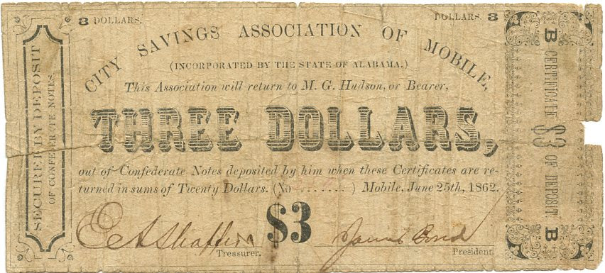 Alabama-Mobile, City Savings Association of Mobile $3, June 25, 1862