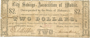 Alabama-Mobile, City Savings Association of Mobile $2, June 25, 1862 A