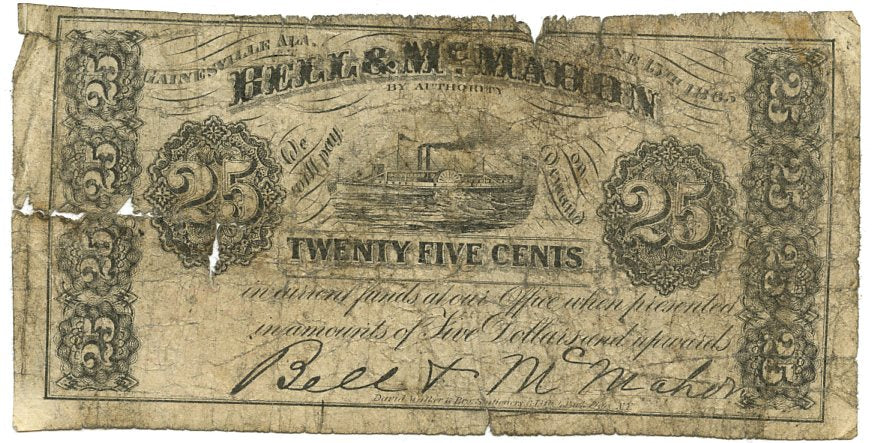 Alabama-Gainsville, Bell & McMahon 25 Cents,  June 15, 1865