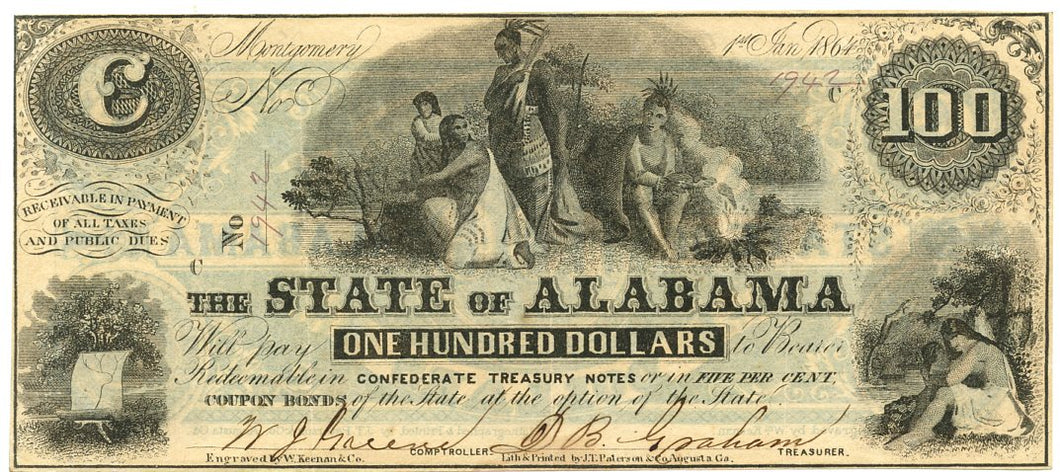 Alabama-Montgomery, The State of Alabama, $100, January 1, 1864