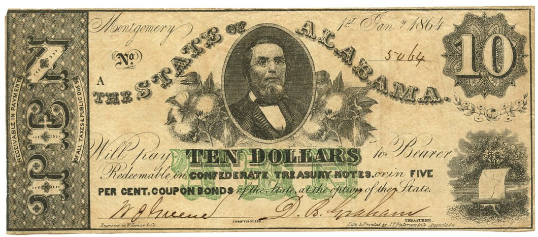 Alabama-Montgomery, The State of Alabama $10, January 1, 1864