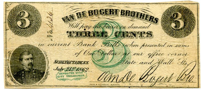 New York-Schenectady, Van de Bogert Brothers 3 Cents, July 21, 1862