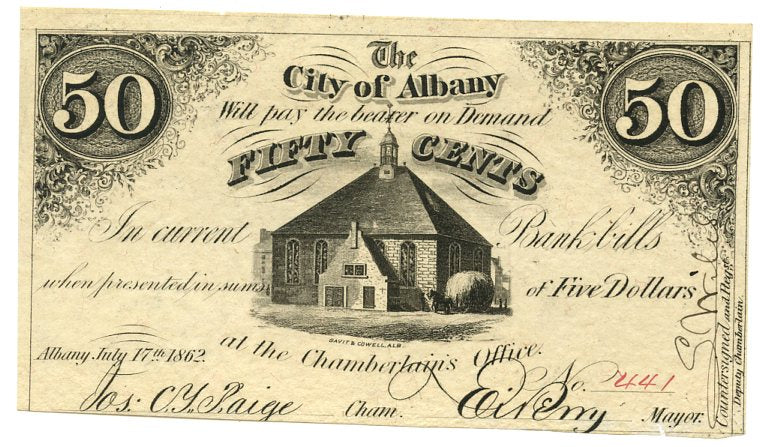 New York-Albany, The City of Albany 50 Cents, July 17, 1862