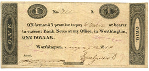 Ohio-Worthington, Ezra Griswald $1, May 29, 1819