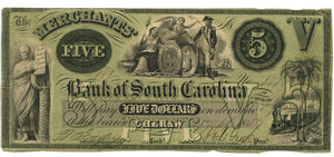 South Carolina-Cheraw, Bank of South Carolina $5, September 17, 1857