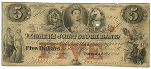 Canada-Toronto, $5 The Farmers' Joint Stock Bank, February 1, 1849