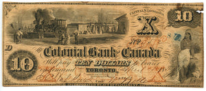 Canada-Toronto, $10 The Colonial Bank of Canada, April 4, 1859