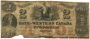 Canada-Clifton, $2 The Bank of Western Canada, September 20, 1859