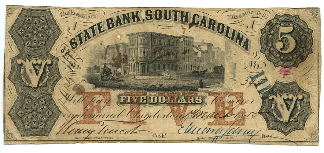 South Carolina-Charleston, The State Bank of South Carolina $5, March 1, 1855