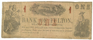 Georgia-Atlanta, The Bank of Fulton $1, January 1, 1863