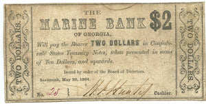 Georgia-Savannah, The Marine Bank $2, May 26, 1864