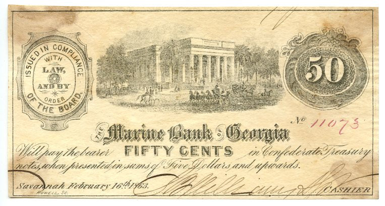 Georgia-Savannah, The Marine Bank of Georgia 50 Cents, February 16, 1863