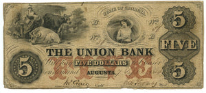 Georgia-Augusta, The Union Bank $5, September 7, 1854
