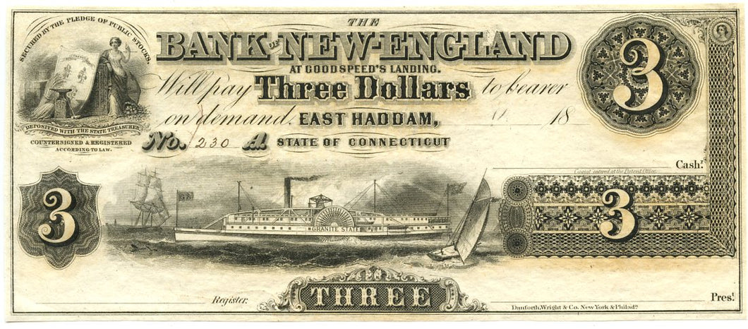 Connecticut-East Haddam, The Bank of New England $3, 18_