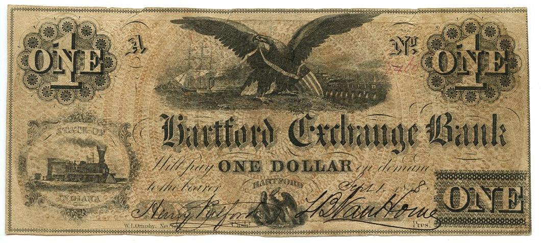 Indiana-Hartford, Hartford Exchange Bank $1, September 1, 1858
