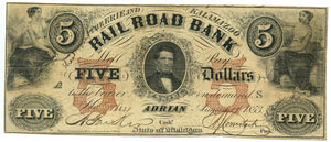 Michigan-Adrian, The Erie and Kalamazoo Rail Road Bank $5, August 1, 1853