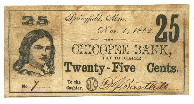 Massachusetts-Springfield, Chicopee Bank 25 Cents, November 1, 1862