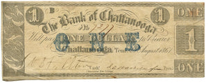 Tennessee-Chattanooga, The Bank of Chattanooga $1, August 28, 1861