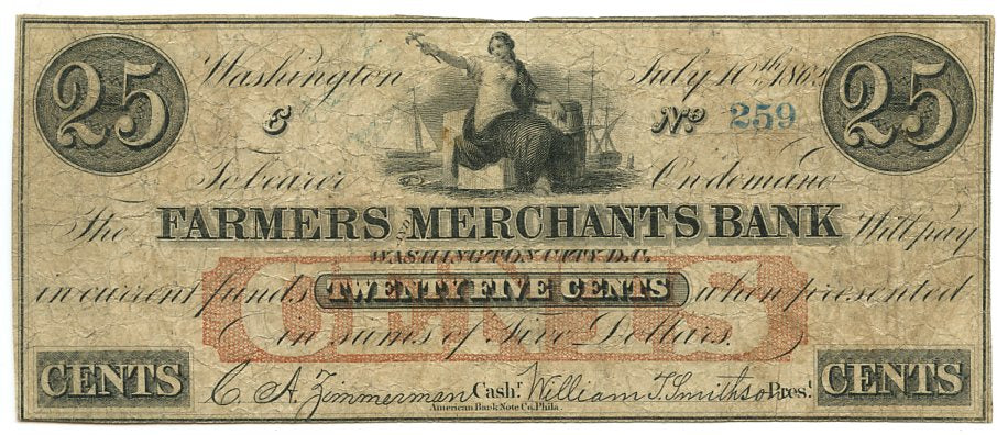 Washington D.C., The Farmers Merchants Bank 25 Cents, July 10, 1862