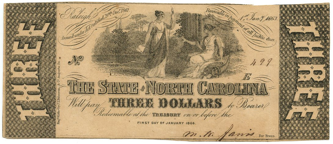 North Carolina-Raleigh, The State of North Carolina $3, January 1, 1863