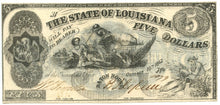 Louisiana-Baton Rouge, The State of Louisiana $5, October 10, 1862