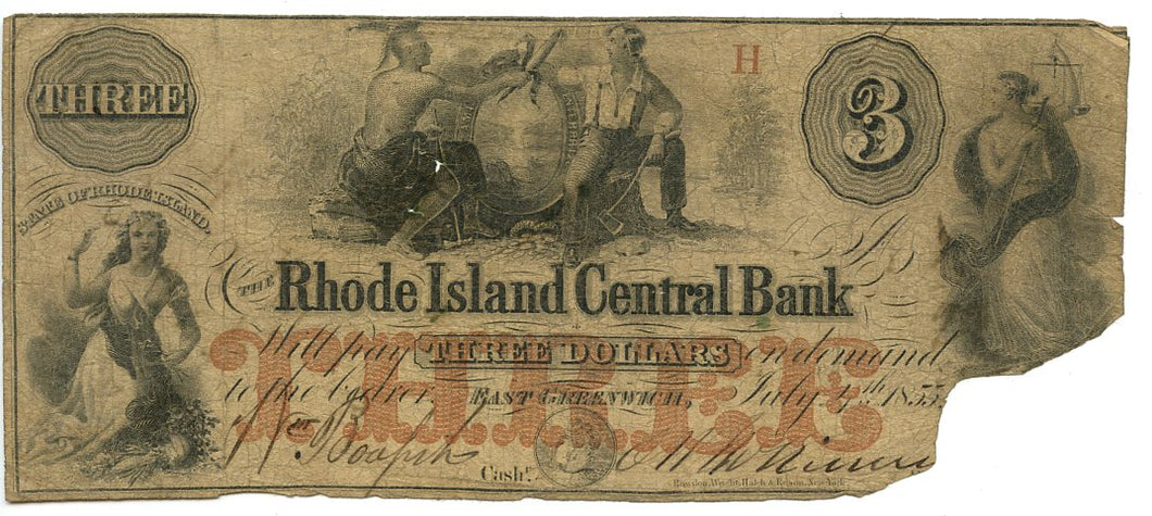 Rhode Island-East Greenwich, The Rhode Island Central Bank $3, July 4, 1855