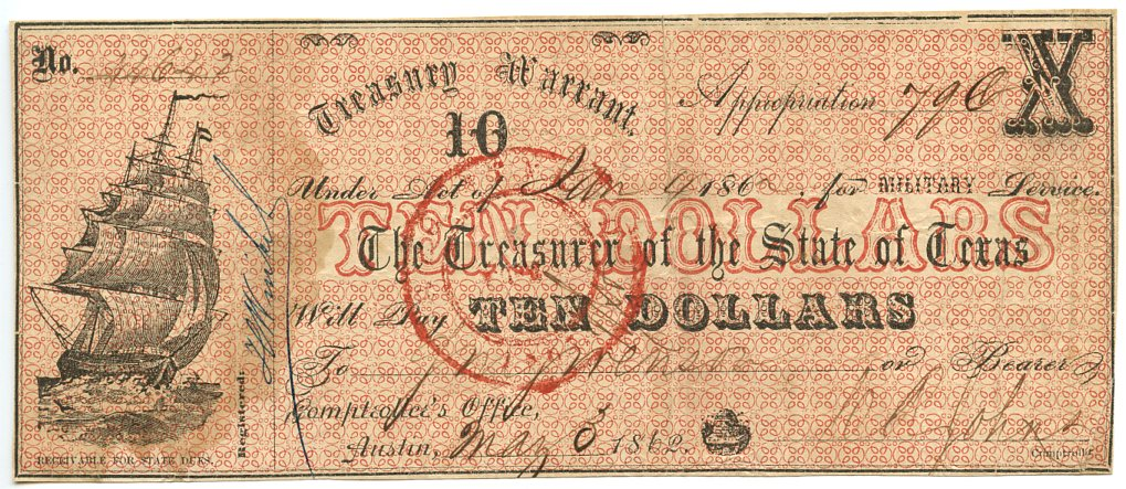 Texas-Austin, Treasury Warrant for Military Service $10, May 3, 1862