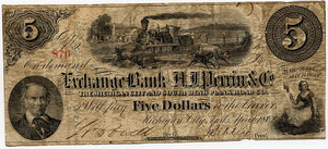 Indiana-Michigan City, The Exchange Bank of H.J. Perrin & Co. $5, April 1862