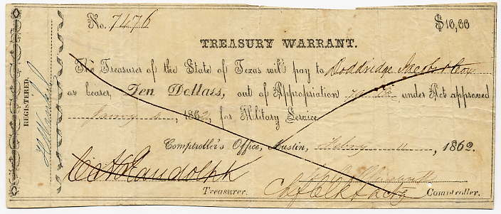 Texas-Austin, Treasury Warrant $10, February 11, 1862