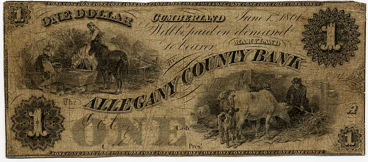 Maryland-Cumberland, The Allegany County Bank $1, June 1, 1861