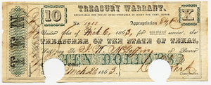 Texas-Austin, Treasury Warrant $10, March 20, 1863