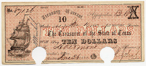Texas-Austin, Treasury Warrant $10, June 26, 1862