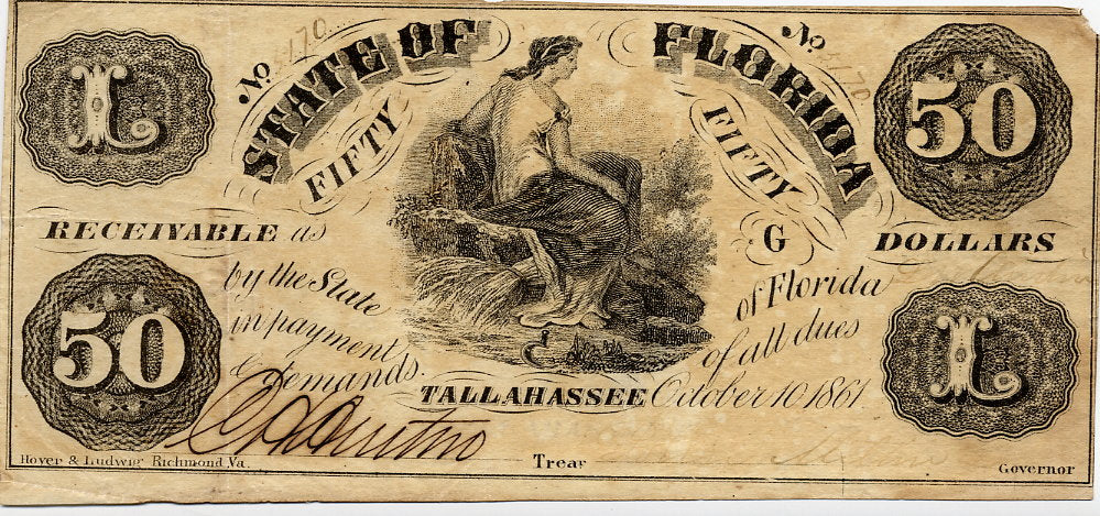 Florida-Tallahassee, State of Florida $50, October 10, 1861