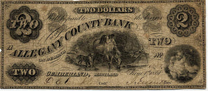 Maryland-Cumberland, The Allegany County Bank $2, June 1, 1861
