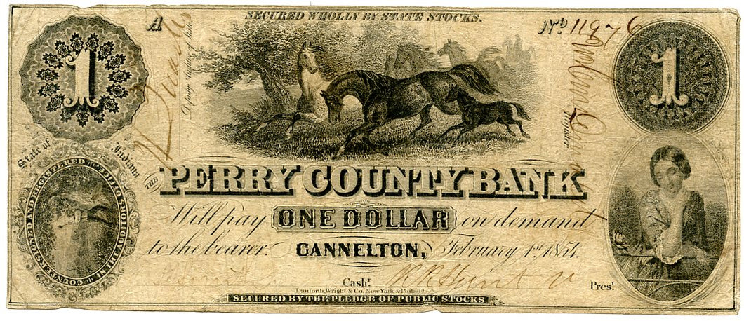 Indiana-Cannelton, The Perry County Bank $1, February 1, 1854
